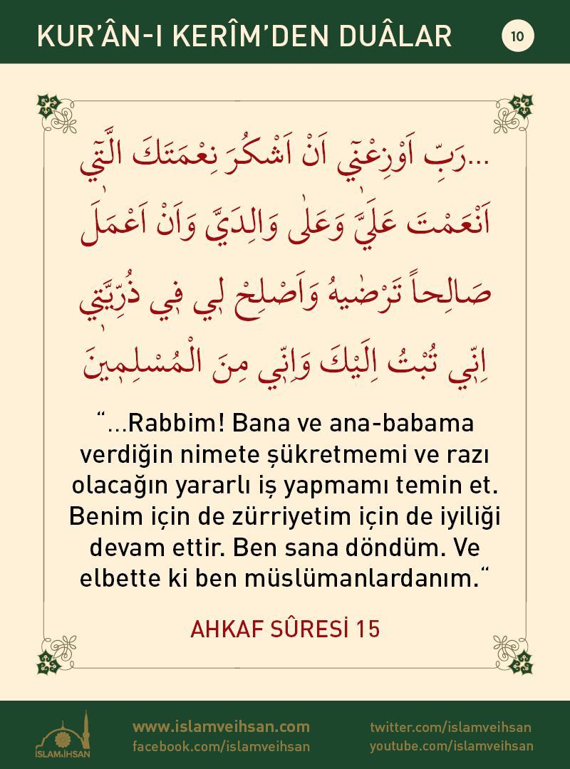 Kur'ân-ı Kerîmden Duâlar 10