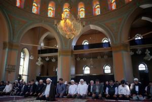 Baku, Azerbaijan, April 1999. Friday prayers in the main city mosque.