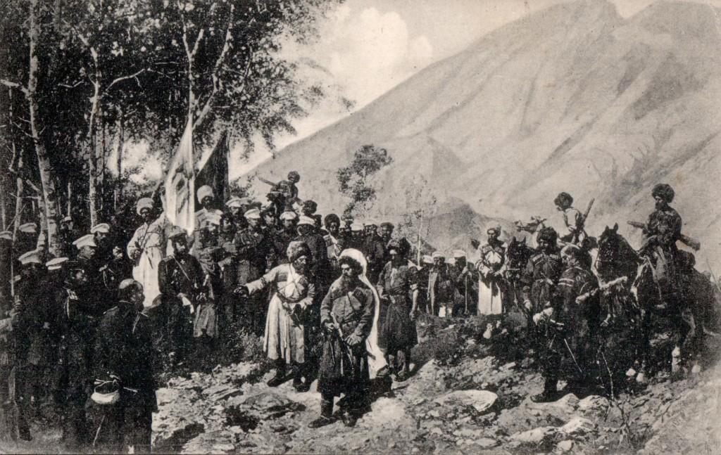 Şeyh_şamil_ruslarla_dağ_başında-resim_1800_yıllar