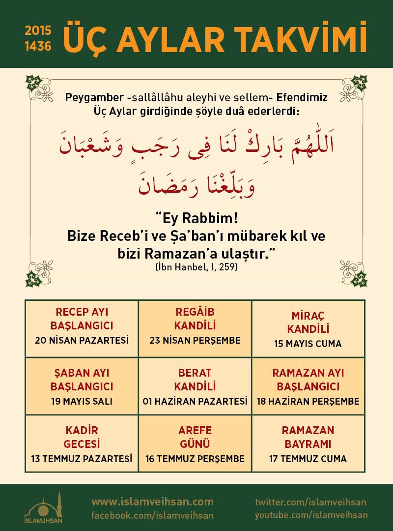 2015 ÜÇ AYLAR TAKVİMİ | İslam ve İhsan