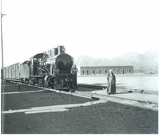 1900'lerde yapımına başlanan hicaz demiryolu inşaatı ve 1 Eylül 1908'de Medine'ye varışı sırasında çekilen fotoğraf.