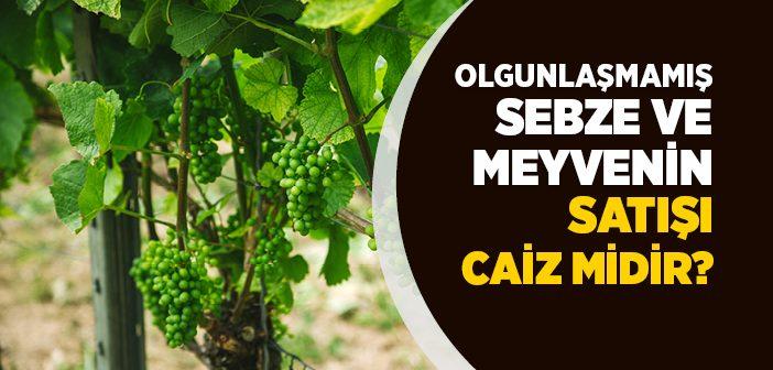 Olgunlaşmamış Sebze ve Meyvenin Satışı Caiz midir?